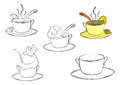 Cup of tea coloring page with silhouettes cups or dessert on a white background Stock Photography