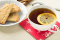 Cup of tea and cookies Stock Image