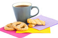 Cup of tea cookies and rusks isolated on white background Stock Photos