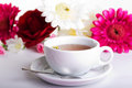 Cup of tea with flower on table Royalty Free Stock Image