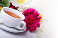 Cup of tea with flower on table Stock Image