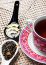 Cup of tea with honey, lemon and herbals Royalty Free Stock Image