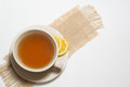 Cup of tea with lemon , i solated on white backgro Royalty Free Stock Image