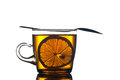 Cup of tea with lemon on white bakground Stock Image