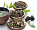 Cup tea loose tea assortment Stock Image