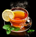 Cup tea with mint and lemon. Royalty Free Stock Images