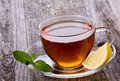 Cup of tea with mint and lemon Stock Image