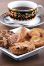 Cup of tea with pastries selective focus Stock Photography