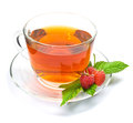 Cup of tea with raspberry Royalty Free Stock Photo
