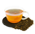 Cup of tea with raw tea Royalty Free Stock Photo