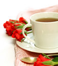Cup of tea and red roses Stock Image