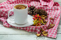 Cup of tea on a red tablecloth, beautiful white wooden background, cinnamon sticks, lemon and berries Royalty Free Stock Photo