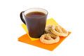 Cup of tea and rusks isolated on white background Stock Photo