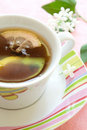 Cup of Tea with slice lemon Stock Images