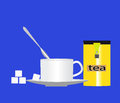 Cup of tea with sugar and a can spoon on a blue background Royalty Free Stock Photo