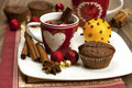 Cup of tea with sweet muffins still life mugs and chocolate decoration Stock Photography
