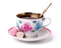 A cup of tea with sweets Royalty Free Stock Photo