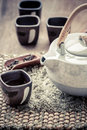 Cup of tea and teapot on wooden Stock Photo