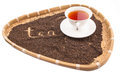 A Cup of Tea In Wicker Tray II Royalty Free Stock Photo