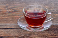 A cup of tea on wooden background Royalty Free Stock Photography