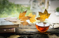 Tazza di tè su pioggia libri e foglie su