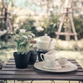 Cup of tea on wooden table in summer garden Royalty Free Stock Photo
