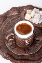 Cup of Turkish Coffee and Delights Royalty Free Stock Photo