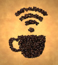 Cup wireless icon coffee bean on old paper digital art Royalty Free Stock Photography