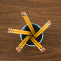 Cup of wooden pencils Royalty Free Stock Images