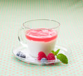 Cup of yoghurt topping with jelly Royalty Free Stock Image