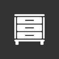 Cupboard icon on black background