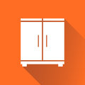 Cupboard icon on orange background with long shadow.