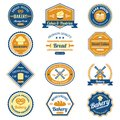 Cupcake bakery labels fresh bread and premium quality pastry set isolated vector illustration Stock Photography