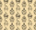 Cupcake baking seamless hand drawn pattern Stock Photo