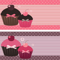 Cupcake banners Stock Photo