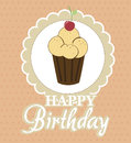Cupcake birthday design over dot background vector illustration Royalty Free Stock Photography