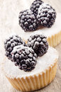 Cupcake and blackberries with icing powder Stock Photos