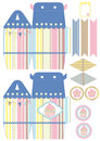 Cupcake box template favor gift die cut designer Stock Images