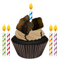 Cupcake and candles illustration of an isolated on a white background Stock Images