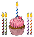 Cupcake and candles illustration of an isolated on a white background Royalty Free Stock Image
