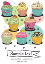 Cupcake card cupcakes on a colorful background Royalty Free Stock Images