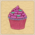 Cupcake card hand drawn sketchy on a wrinkled paper Royalty Free Stock Image