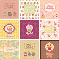 Cupcake cards collection suitable for different ocations Stock Photography