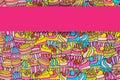 Cupcake cartoon doodle background design