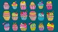 Cupcake cartoon doodle icon set.