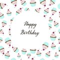 Cupcake with a cherry happy birthday card
