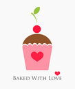 Cupcake with cherry sweet baked love Royalty Free Stock Photography