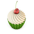 Cupcake with cherry on top isolated on white background Royalty Free Stock Photo