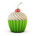 Cupcake with cherry on top Royalty Free Stock Photo