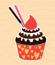 Cupcake cherry vector Stock Foto's